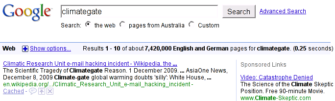 Google search result showing 7,420,000 hits for climategate