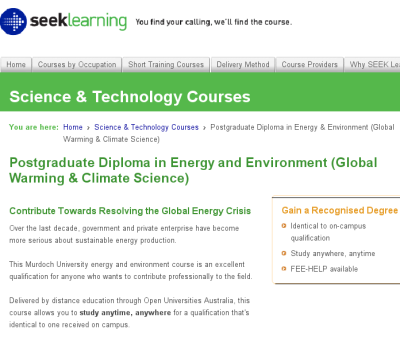 Advert for course in global warming